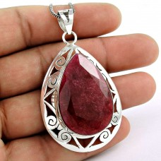 Pleasant!! 925 Sterling Silver Ruby Pendant
