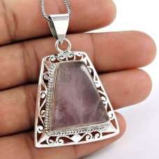 Pretty!! 925 Sterling Silver Rose Quartz Pendant