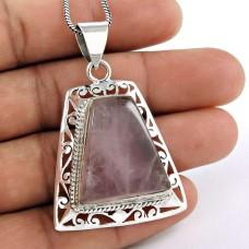 Pretty!! 925 Sterling Silver Rose Quartz Pendant