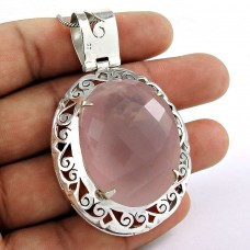 Rattling!! 925 Sterling Silver Rose Quartz Pendant