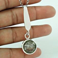 Fashion 925 Sterling Silver Black Rutile Gemstone Pendant Antique Jewellery