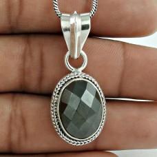 925 Sterling Silver jewelry Fashion Gun Metal Gemstone Pendant