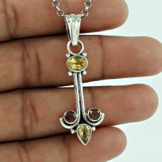 Dainty 925 Sterling Silver Garnet Citrine Gemstone Pendant Vintage Jewellery
