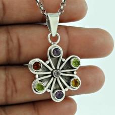Stylish 925 Sterling Silver Amethyst Peridot Citrine Gemstone Pendant Jewellery