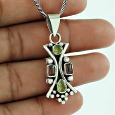 Handy 925 Sterling Silver Garnet Peridot Gemstone Pendant Ethnic Jewellery