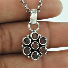 Rare 925 Sterling Silver Garnet Gemstone Pendant Ethnic Jewellery Wholesaling