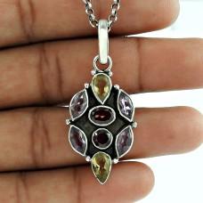 Fashion 925 Sterling Silver Amethyst Garnet Citrine Gemstone Pendant Antique Jewellery