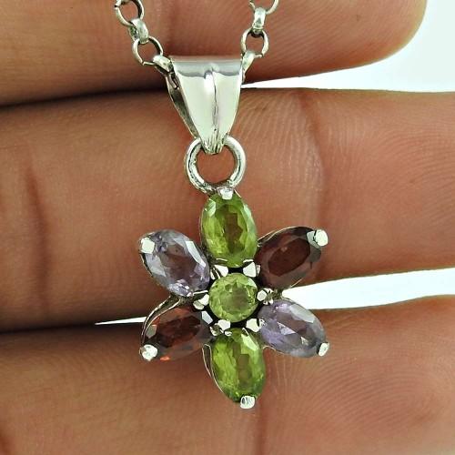 Designer 925 Sterling Silver Peridot Garnet Amethyst Gemstone Pendant Traditional Jewellery
