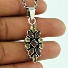 Lustrous 925 Sterling Silver Garnet Citrine Gemstone Pendant Ethnic Jewellery