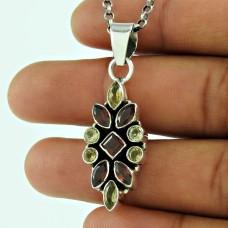 Stylish 925 Sterling Silver Garnet Citrine Gemstone Pendant Jewellery