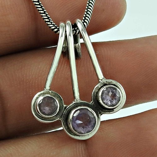 Party Wear Amethyst Gemstone 925 Sterling Silver Fashion Pendant Jewellery Wholesaling