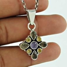 925 Sterling Silver Vintage Jewelry Beautiful Smoky Quartz, Citrine, Amethyst Gemstone Pendant Wholesale