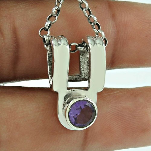 Personable Amethyst Gemstone 925 Sterling Silver Pendant Ethnic Jewellery