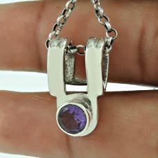 Classic Amethyst Gemstone 925 Sterling Silver Pendant Jewellery