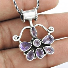 925 sterling silver fashion jewelry Beautiful Amethyst Gemstone Pendant