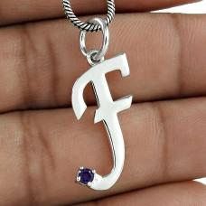 Amethyst Gemstone 925 Sterling Silver F Letter Pendant