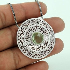 Misty Morning!! Green Amethyst 925 Sterling Silver Pendant