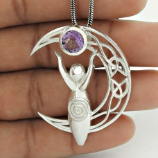 Moon Design Amethyst Gemstone Sterling Silver Jewelry Bohemian Pendant