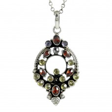 925 sterling silver antique jewelry Charming Garnet, Lemon Topaz, Amethyst Gemstone Pendant