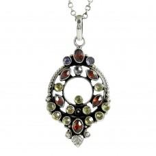 925 sterling silver antique jewelry Charming Garnet, Lemon Topaz, Amethyst Gemstone Pendant