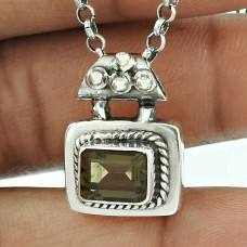 Trendy 925 Sterling Silver Smoky Quartz Gemstone Pendant Jewellery