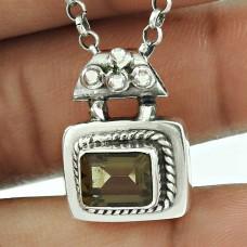 Charming 925 Sterling Silver Smoky Quartz Gemstone Pendant Vintage Jewellery