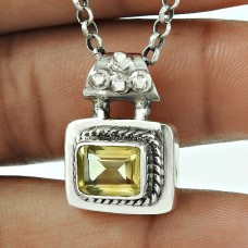 925 Sterling Silver Citrine Gemstone Pendant Antique Jewellery