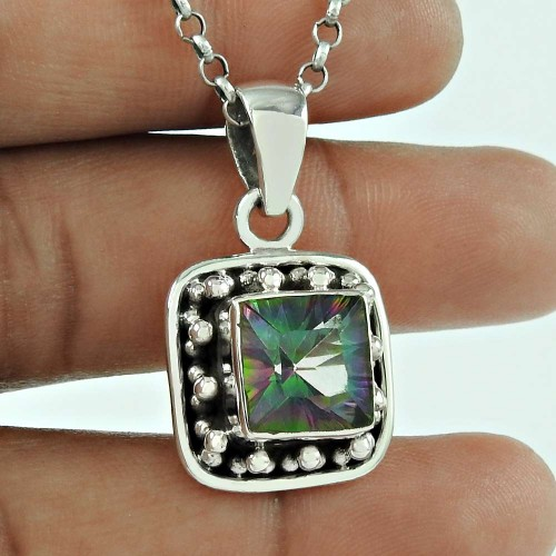 Party Wear 925 Sterling Silver Mystic Gemstone Pendant Designer Jewellery