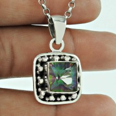 Beautiful 925 Sterling Silver Mystic Gemstone Pendant Traditional Jewellery