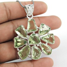 Royal Style!! 925 Sterling Silver Green Amethyst Pendant Wholesale
