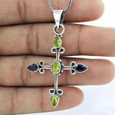 The One 925 Sterling Silver Peridot, Iolite Cross Pendant