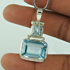 Graceful 925 Sterling Silver Blue Topaz Gemstone Pendant Jewellery