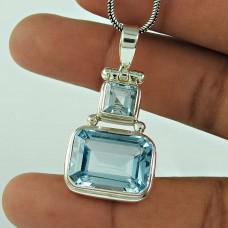 Graceful 925 Sterling Silver Blue Topaz Gemstone Pendant Jewellery