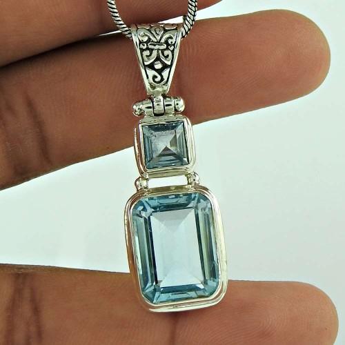 Excellent 925 Sterling Silver Blue Topaz Gemstone Pendant Vintage Jewellery