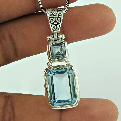 Designer 925 Sterling Silver Blue Topaz Gemstone Pendant Traditional Jewellery