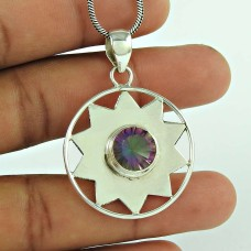 Party Wear 925 Sterling Silver Mystic Gemstone Pendant Ethnic Jewellery