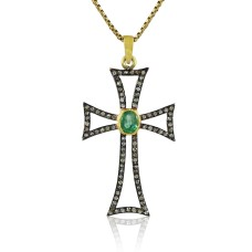 Sterling Silver Jewellery Diamond & Green Onyx Cross Pendant