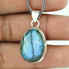 Big Design Labradorite Gemstone Silver Pendant Jewellery
