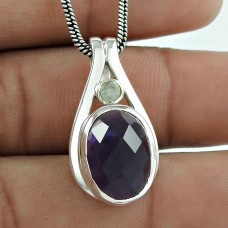 Sightly ! Amethyst, Rainbow Moonstone Silver Jewelry Pendant