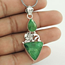 Vintage Fashion Emerald Gemstone Sterling Silver Pendant Jewelry