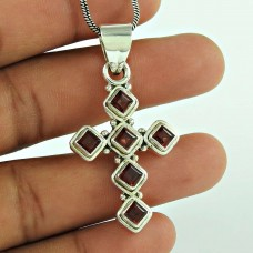 Beautiful 925 Sterling Silver Garnet Gemstone Cross Pendant Jewellery