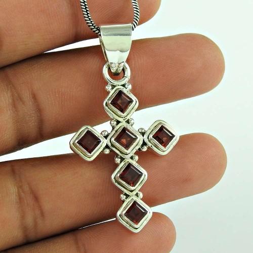 Beautiful 925 Sterling Silver Garnet Gemstone Cross Pendant Jewellery