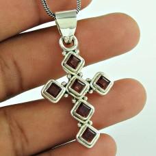 Daily Wear 925 Sterling Silver Garnet Gemstone Cross Pendant Jewellery