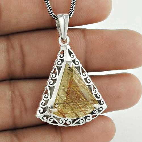 Handmade ! Golden Rutile Gemstone 925 Sterling Silver Pendant