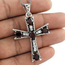 925 sterling silver Bohemian jewelry Beautiful Garnet, White CZ Cross Pendant