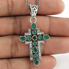 925 Sterling Silver jewelry Trendy Emerald, CZ Bohemian Cross Pendant Fabricante