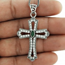 925 sterling silver vintage jewelry Beautiful Emerald, CZ Cross Pendant