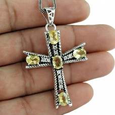 925 sterling silver indian jewelry Trendy Citrine, CZ Cross Pendant