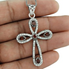 Sterling silver fashion jewelry Charming Garnet, CZ Bohemian Pendant