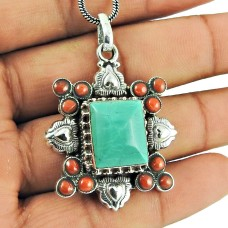 925 Sterling Silver Jewellery Ethnic Coral, Turquoise Gemstone Pendant Fabricante